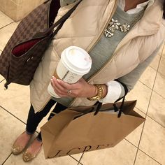 Love this whole look!  Madden flats, skinny jeans, white button down, grey BR or…
