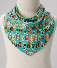 Look at this Bean Pad Turquoise & Green Feather Reversible Bandana Bib on #zulily today!