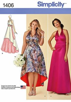 Items similar to Halter Top Evening Gown Pattern, Halter Top Wedding Party Dress Pattern, Gown with Brush Train Pattern, Simplicity Sewing Pattern 1406 on Etsy Formal Dress Patterns, Dress Sewing Patterns, Clothing Patterns, Hi Low Dresses, Nice Dresses, Women's Dresses, Patron Simplicity, Simplicity Patterns, Event Dresses
