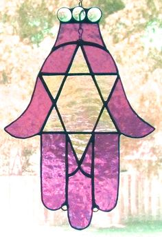 "Stained glass hamsa suncatcher.  Protection from ""evil eye"".  #stainedglass #suncatcher #hamsa #evileye"