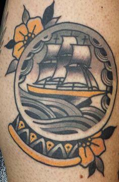 Ship and snowglobe tattoo - Richie Blackheart