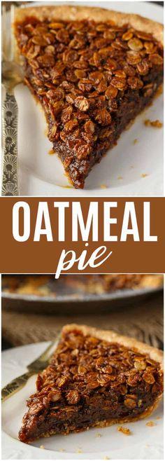 Pie Oatmeal Pie - An old fashioned dessert just like Grandma used to make!Oatmeal Pie - An old fashioned dessert just like Grandma used to make! Yummy Treats, Sweet Treats, Yummy Food, Tart Recipes, Sweet Recipes, Pie Dessert, Dessert Recipes, Oatmeal Pie, Oatmeal Dessert