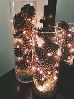 Give your home a warm and cozy rustic makeover with these DIY Christmas decor ideas. There are over a hundred ideas for indoor and outdoor Christmas decorations. From wood finishes and burlap accents to natural elements, your home will be filled with trad Diy Christmas Lights, Christmas Wall Art, Outdoor Christmas Decorations, Rustic Christmas, Light Decorations, Christmas Home, Christmas Bulbs, Christmas Crafts, White Lights Decor