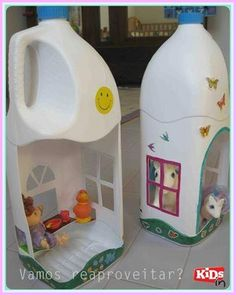 Recycle your plastic bottles to make Dollhouse for child .And bring them a wonderful day !Of course you can save your money and less extra entertain expend