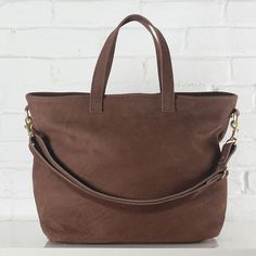 Hudson chocolate brown nubuck leather tote with brass hardware // Shannon South // made in USA
