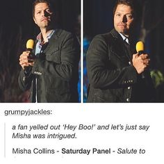 oh Misha LOL . I like how he holds the microphone -- Misha Collins Conventions Supernatural Destiel, Castiel, Super Natural, Misha Collins, Superwholock, Just In Case, Like Me, It Cast, Photos