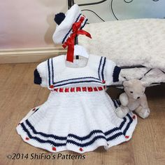 CROCHET PATTERN For Baby Sailor Dress & Beret in 3 Sizes por ShiFio