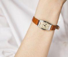 Mid century lady wrist watch Star, rare Soviet fashionista watch, rectangle face woman watch, premium leather strap new