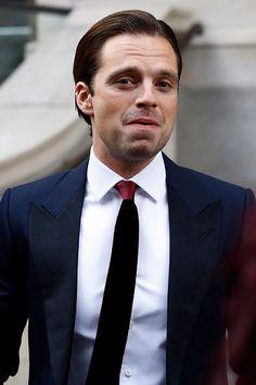 Actor Sebastian Stan leaves the Corinthia Hotel ahead of the Captain America Civil War UK premiere on April 26 2016 in London England