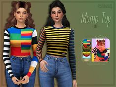 Fun, striped tops, inspired by Twice's Momo. All four designs are by Unif (Digit Top, Dylan Top, Crayola Sweater, Frost Sweater) Found in TSR Category 'Sims 4 Female Everyday'