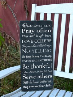 Our Family Rules painted wood sign. $42.00, via Etsy.