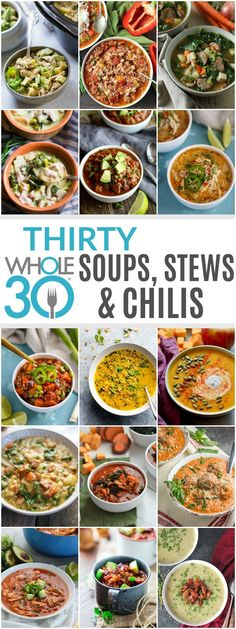 Thirty Whole30 Soups, Stews & Chilis for your January Whole30 & beyond. Whether you're on a Whole30 or not, we know you'll find a recipe or two or ten that you'll want to give a try. All recipes are gluten-free and dairy-free.