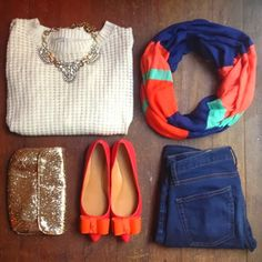 Charming white sweater shirt with colorful scarf and pumps