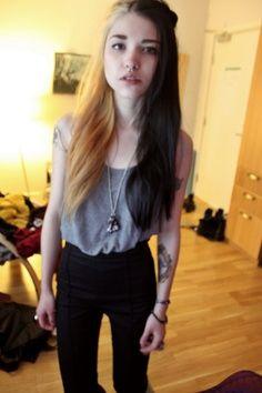 Half blonde, half black hair