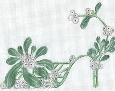 Beautifully hand painted Mistletoe Slipper on Zweigart needlepoint canvas X mailed insured Needlepoint Pillows, Needlepoint Designs, Needlepoint Kits, Needlepoint Canvases, Cross Stitch Embroidery, Cross Stitch Patterns, Machine Embroidery, Embroidery Ideas, Stitches Wow