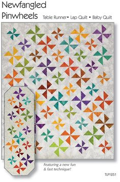 Making these pinwheel blocks is fabulously easy but the BIG FUN starts when you put the blocks together and the interlocking pinwheels appear! Pattern comes with Color Chart making this project simple and goof-proof. Lap quilt pinwheels are larger tha Pinwheel Quilt Pattern, Quilt Patterns, Sewing Patterns, Quilting Projects, Quilting Designs, Quilt Design, Quilting Ideas, Half Square Triangle Quilts, Quilting For Beginners
