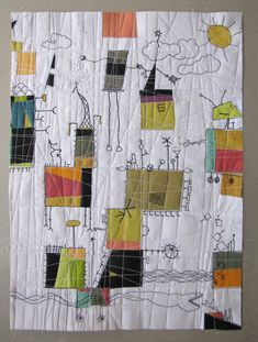 Think like a child, Paula Kovarik textile art, textile art, Small Quilts, Mini Quilts, Baby Quilts, Motifs Applique Laine, Quilting Projects, Sewing Projects, Quilt Modernen, Contemporary Quilts, Patchwork Quilting