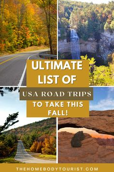 The ULTIMATE list of USA road trips to take this Fall! + over 17 different sample itineraries for easy planning! Road Trip Usa, Weekend Getaways, Time Travel, North America, Trips, Things To Do, Waterfall, Mexico, Around The Worlds