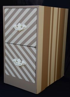 FILE CABINET MAKE OVER!! Turn you old, ugly file cabinet into this! Quick and easy tutorial using tape and SPRAY PAINT.
