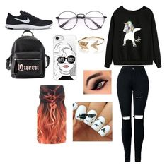 """Untitled #16"" by amcracea-1 ❤ liked on Polyvore featuring NIKE, Charlotte Russe, Casetify and EF Collection"
