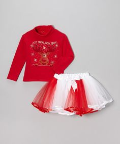 Take a look at this Red 'Let It Snow' Turtleneck & Pettiskirt - Toddler & Girls by So Girly & Twirly on #zulily today!