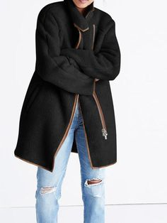 Women Pure Color Zipper Pockets Long Sleeve Fleece Coat at Banggood Bikinis For Sale, Coat Stands, British Indian, Types Of Sleeves, Winter Coat, Fall Winter, Sleeve Styles, Underwear, Winter Jackets