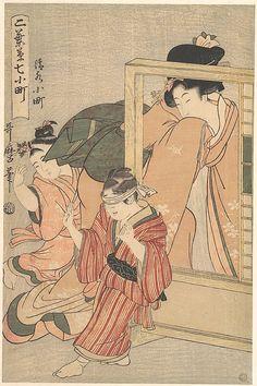Kiyomizu Komachi Kitagawa Utamaro (Japanese, 1753–1806) Period: Edo period (1615–1868) Date: 1790s Culture: Japan Medium: Polychrome woodblock print; ink and colour on paper. Please like http://www.facebook.com/RagDollMagazine and follow @RagDollMagBlog @priscillacita