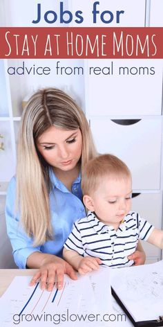 Cannot make it on one income but want to be a stay at home mom? Here is a list of over 60 real jobs that stay at home moms are actually doing to make money from home. www.growingslower.com #workfromhome #stayathomemom #workathomemom Make Money Money Making Ideas