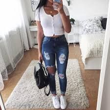 46 Beautiful & Trending Spring/Summer Outfits You Need To Get Right Now - Page 2 of 5 - Stylish Bunny 45 Fantastic Spring Outfits You Should Definitely Buy / 020 Teenage Outfits, Teen Fashion Outfits, College Outfits, Mode Outfits, Jean Outfits, Look Fashion, Outfits For Teens, Womens Fashion, Fashion Clothes