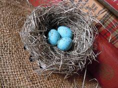 Shabby Chic Handmade Bird Nest with Turquoise Robin's Eggs @ AMarigoldLife