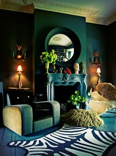 Stylish Dark Green Walls Living Room Design Ideas – Decorating Ideas - Home Decor Ideas and Tips Decoration Inspiration, Interior Inspiration, Inspiration Design, Decor Ideas, Interior Ideas, Room Inspiration, Living Room Designs, Living Room Decor, Art Deco Interior Living Room