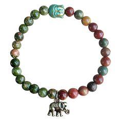 My Lucky Elephant Buddha Red, Rainforest, Green Jasper Stretch Bracelet Tibetan…