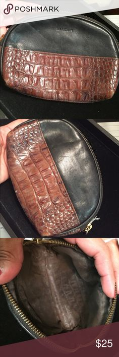 Brahmin Black and brown leather makeup pouch. Used inside. See pic Brahmin Bags