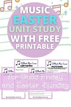 15 Minute Free Easter & Good Friday music unit study for your homeschool classroom. Check out these Christian Easter activities for kids this year! Looking for a Christian free printable for Easter for families? These Sunday School Easter activities are perfect craft ideas for children. Celebrate Jesus with these Jesus Easter activities at home with your family. From Music in Our Homeschool Preschool Music, Music Activities, Friday Music, Jesus Easter, Easter Activities For Kids, Christian Easter, Music For Kids, Good Friday, Music Lessons