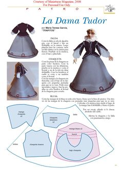 "Tudor lady dress pattern 1/12"" scale for dollhouse miniatures , miniature doll"