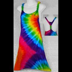 Rainbow Spiral Tie-Dye Adjustable long top - great swimsuit cover-up