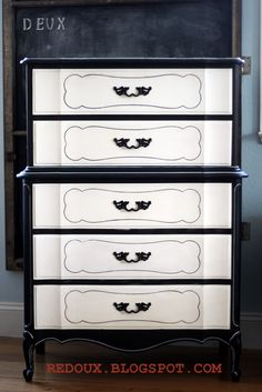 Black and White French Style Dresser with an assistant!   REDOUXINTERIORS.COM FACEBOOK: REDOUX #blackandwhitedecor #blackandwhitefurniture #frenchstyledecor #frenchstyledresser #redouxinteriors #blackandwhitedresser