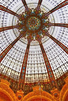 Stained glass cupola of Galeries Lafayette, Paris, Europe's largest Department store