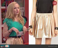 Liv's gold skirt on Liv and Maddie.  Outfit Details: http://wornontv.net/44235/ #LivandMaddie