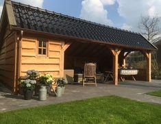 Kapschuur of overkapping | Landelijke Bouwstijl | Friesland Garden Gazebo, Pergola Patio, Backyard Patio, Outdoor Seating, Outdoor Spaces, Outdoor Living, Outdoor Decor, Wooden Summer House, Wooden House