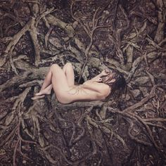 """""""Earthchild"""" © Natascha van Niekerk … woman peaceful, innocent, vulnerable but powerful she receives her strength from the veins of the earth deep from within the forest floor she is born Conceptual portraits, Fine Art photography for home decor."""