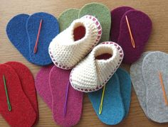Super simple baby slipper kit. Softest natural merino yarn and wool felt soles in super colours.