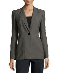 Escada One-Button Patch Pocket Jacket, Granite, Women's, Size: 34