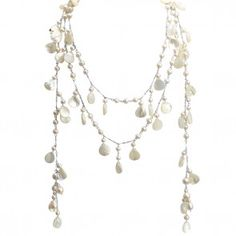 White Shell Pearl Sterling Silver Happy Lariat