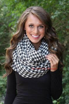 The Pink Lily Boutique - Acrylic Houndstooth Infinity Scarf, $22.00 (http://thepinklilyboutique.com/acrylic-houndstooth-infinity-scarf/)