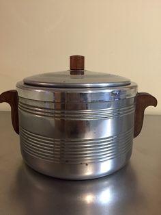 Mid Century Ice Bucket | Heller Ice Vault | Made in USA | Chrome and Teak | Bar…