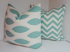 Village Blue Off White Chevron Zig Zag & Ikat by HomeLiving
