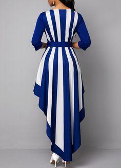 Striped Asymmetric Hem V Neck Belted Maxi Dress Ladies Day Dresses, Stylish Dresses For Girls, Stylish Dress Designs, Ladies Clothes, Sexy Dresses, Best African Dresses, Latest African Fashion Dresses, Women's Fashion Dresses, Muslim Women Fashion