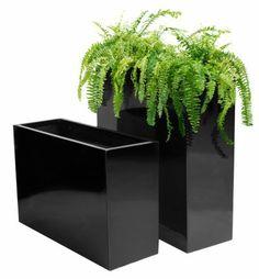 Hoge Langwerpige Plantenbak - Zwarte Gel Coating - Groot