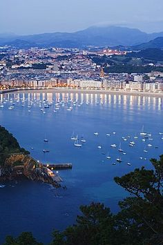 San Sebastian Bay at night, Basque Country, Euskadi, Spain